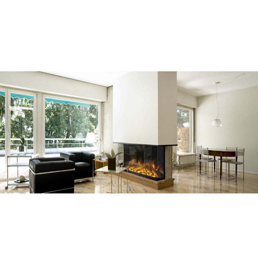 Evonic 1560gf3 Anti-Reflectic Glass Fireplace in Column Seperating Living Area from Dining Area
