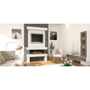 Evonic Broadway Electric Fireplace Interior Design White Stylish Living Room Tv Mounted on Wall Above Fire