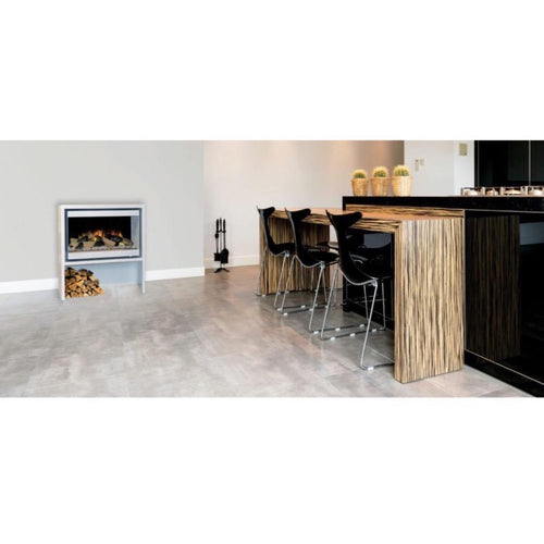 Evonic Halmstad Electric Wood Fire Widescreen in White with Coffee Bar in Black Sleek Kitchen