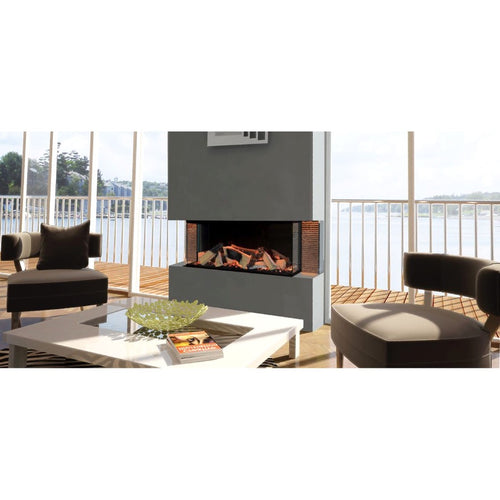 Evonic Kiruna Chrome Side Infills Ceramic Tiles Electric Fireplace in Luxury Living Room Overlooking the Water