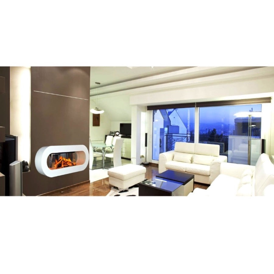 Evonic Nimbus Wall Mounted Electric Fire in Stylish Luxury Open Floor Apartment Living Room