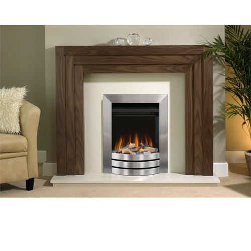 Evonic Staton Electric Fire Ceramic Log Set Satin Stainless Finish
