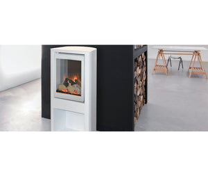 Evonic Tuva in White Electric Freestanding Stove in Open Plan Room