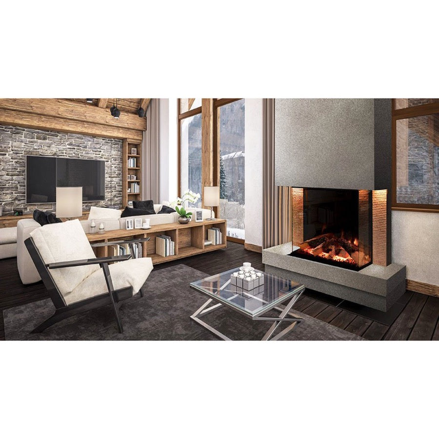 Evonic Tyrell in Grey Panoramic Full Glass Electric Fireplace Chrome Fill Ins in Luxury Chalet Style Living Room