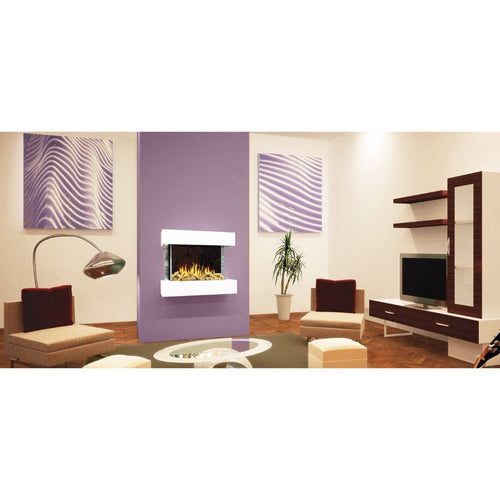 Evonic Westfield Glass Electric Fire White and Grey Ceramic Tile Border in Purple and Cream Theme Living Room