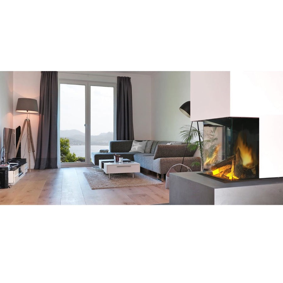 Evonic e500gf3 Panoramic View Fireplace in Luxury Apartment Living Room