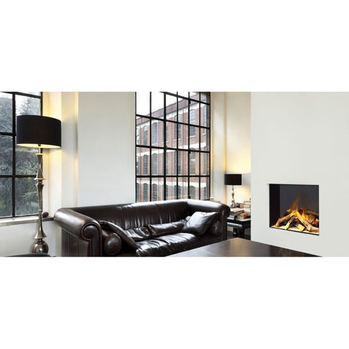 Evonic e600s Electric Fireplace Full Glass view of Log Fire Luxury Home Apartment Living Room with Leather Couch