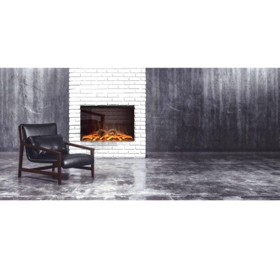Evonic e900gf Large Glass Screen Electric Fire on Stacked Brick in Slate Coloured Industrial Style Living Room