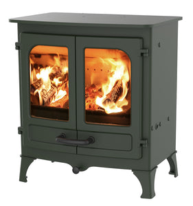 Charnwood All New Island I Woodburning Stove Double Door Green Colour