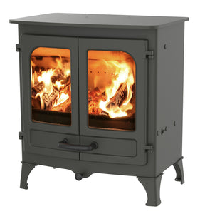 Charnwood All New Island I Woodburning Stove Double Door Gunmental Colour