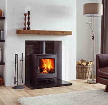 Load image into Gallery viewer, Dik Geurts Ivor Low EA Multi Burning Wood Stove Freestanding in Living Room Log Storage Leather Couch Wooden Mantlepiece