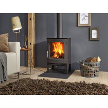 Load image into Gallery viewer, Dik Geurts Ivor High EA Multi Burning Wood Stove Freestanding in Living Room Log Storage on Grey Interior Design