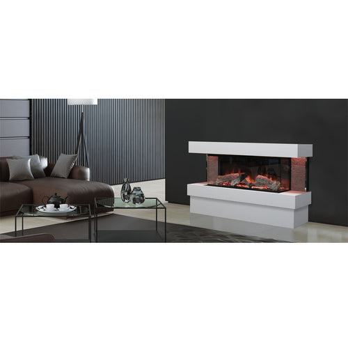 Evonic Kalmar Quartz Finish Anti Reflective Glass Luxury Home Fireplace in Living Room