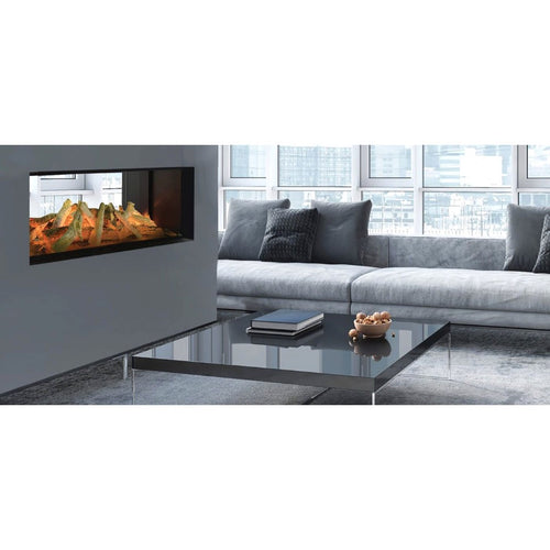 Evonic Lindstrom Double Sided Full Glass Electric Fire in Grey Interior Design Luxury Home Living Room with Sofa and Coffee Table