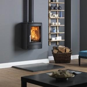 Neo 3W Mounted Real Firestove on Grey Wall Large Wood Burning Fire