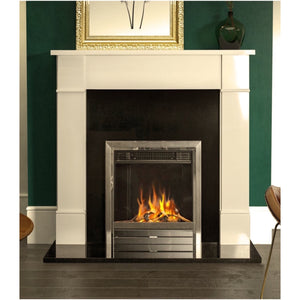 "54"" Naxos Ivory Cream Surround Fireplace Stylish on Dark Green Chimney Breast"