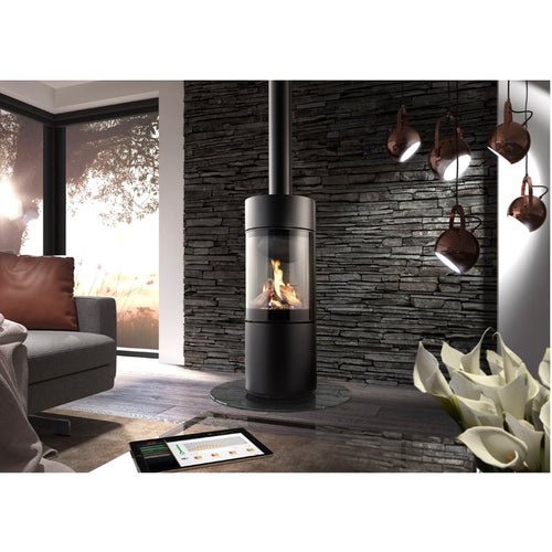 Spartherm Passo G Gas Stove Black Slate Stacked Wall Design Round Fire Sleek Stove