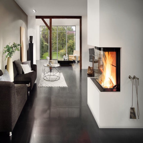 Premium Edition A-3RL 60h 3 sided Full Glass Fire Wood Burning Luxury Trendy Stylish Living area Mounted Fire Companion