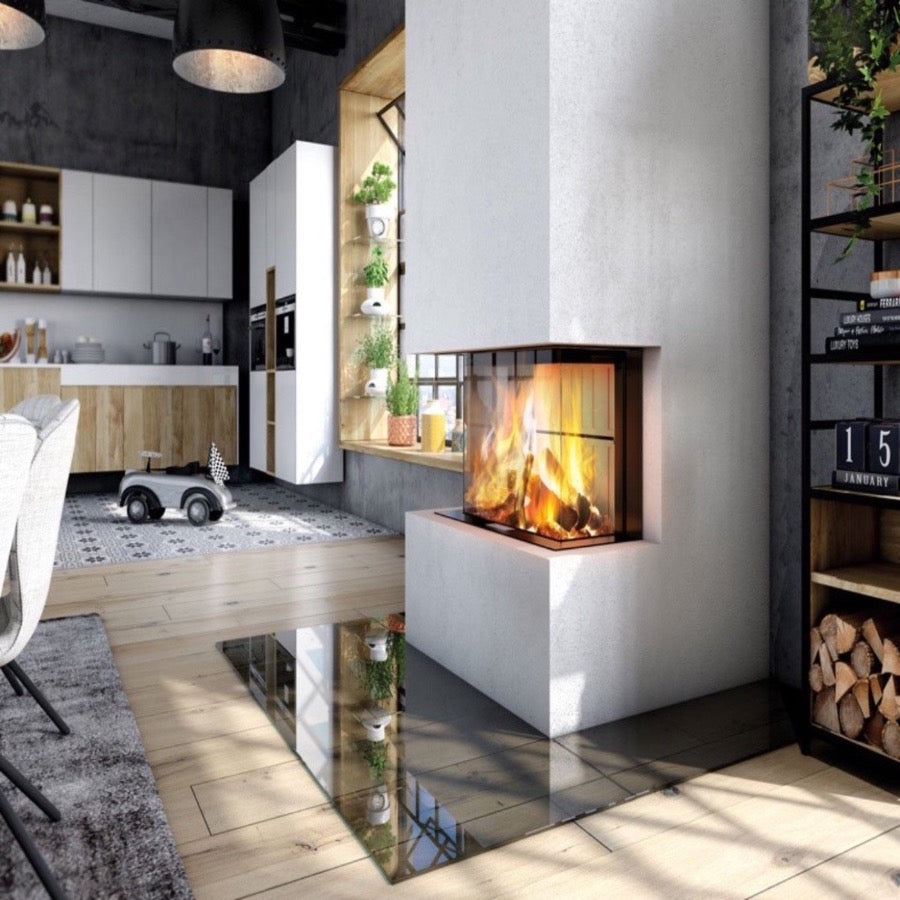 Premium A-3RL 80h 3 sided Full Glass Fire Wood Burning Industrial Stylish Kitchen Living area