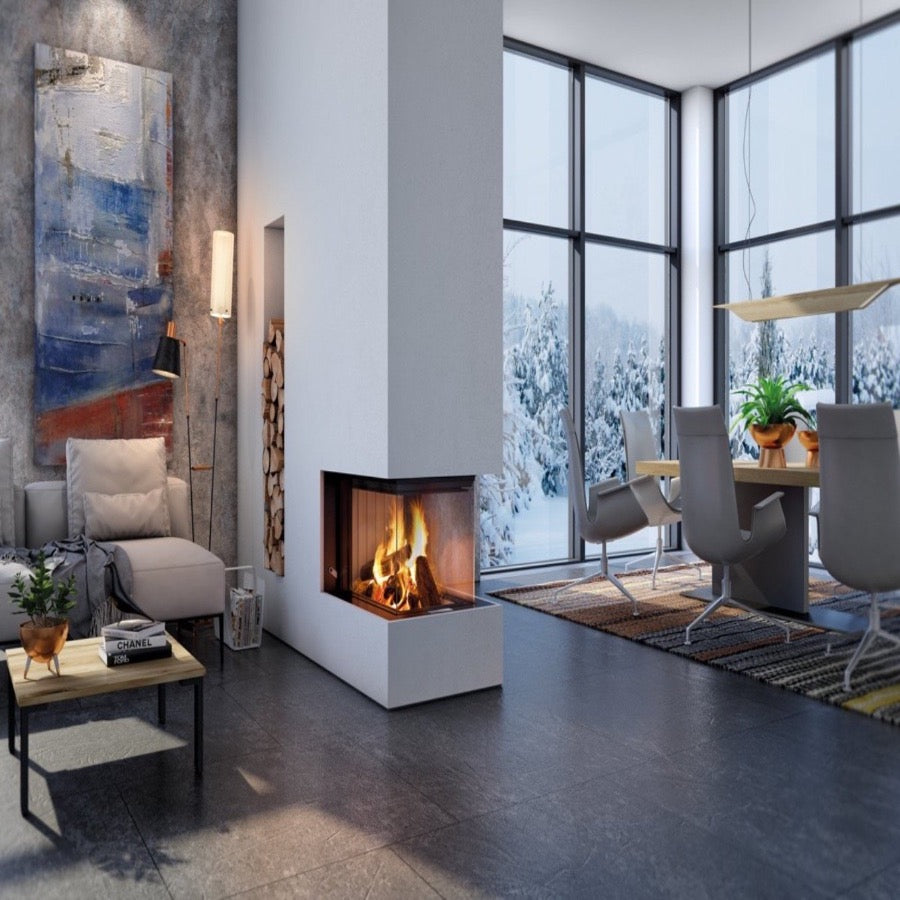 Premium Arte U 70h 3 sided Full Glass Fire Wood Burning Luxury Trendy Stylish Living area in Cosy Ski Chalet Mountain View