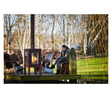 Load image into Gallery viewer, Quaruba Outdoor Stove XXL Teenager sitting Comfortably by Fire Garden Lakeside