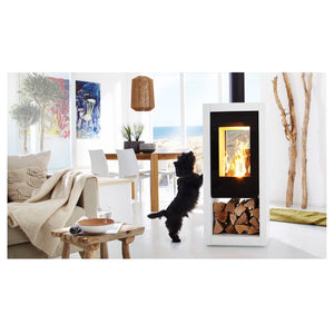 Spatherm Ambiente a8 Weiss Milieu White Black Clean Bright Interior Design Beach House with Dog