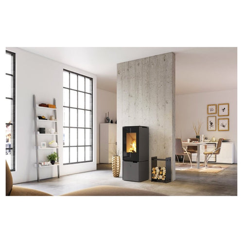 Spartherm Ambiente a9 Freestanding Fire Log Storage Wood Burning Stove Black Glass Frame Interior Open Plan Apartment Living Room