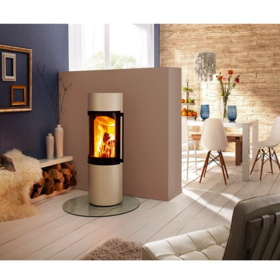 Spartherm Passo XS Perle Colour in Beige Cotswold Stone Stacked wall Round Glass Stand Log Storage