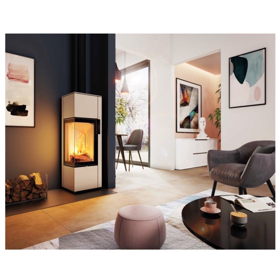 Spartherm Piko S Steel Corner Glass Stove Wood Burning Log Storage in Interior Design Luxury Home Cream and Black