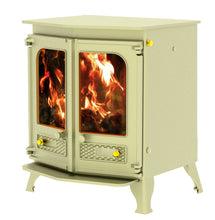 Load image into Gallery viewer, Charnwood Country 8 Wood Burning Fire Freestanding Double Twin Door Almond