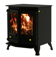 Load image into Gallery viewer, Charnwood Country 8 Wood Burning Fire Freestanding Double Twin Door Black