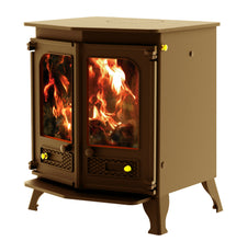 Load image into Gallery viewer, Charnwood Country 8 Wood Burning Fire Freestanding Double Twin Door Bronze