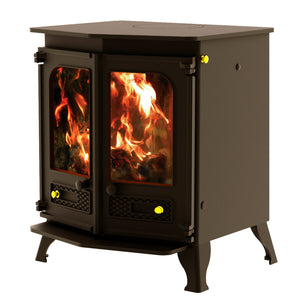 Charnwood Country 8 Wood Burning Fire Freestanding Double Twin Door Brown