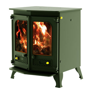 Charnwood Country 8 Wood Burning Fire Freestanding Double Twin Door Green