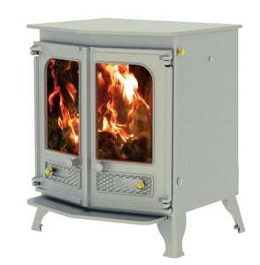 Charnwood Country 8 Wood Burning Fire Freestanding Double Twin Door Pewter