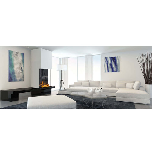 Evonic e810ef3 Panoramic Fireplace Full Glass in White and Blue Interior Design Living Room