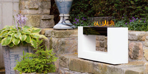 Ebios Architecture SL Bio Ethanol Freestanding Fire Outdoor White Black on Stone Wall
