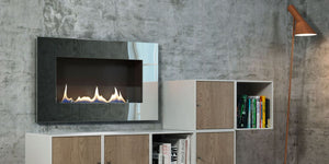 Oxford 600 Bio Ethanol Fire Built-In Wall Mounted with shelves industrial Style wall
