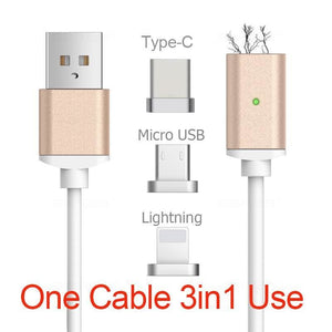 2.4A High Speed Charging Magnetic Cable For iPhone - Android - Type-C - Mobile Phone Cables