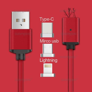 2.4A High Speed Charging Magnetic Cable For iPhone - Android - Type-C - red 3in1 - Mobile Phone Cables