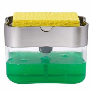 2 in 1 Sponge Box With Soap Dispenser - Home - Clear2 Green - 2-in-1-sponge-box-with-soap-dispenser