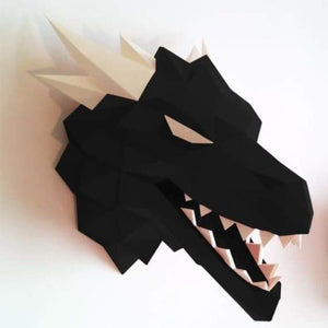 3d paper wolf head model toy - puzzles - black - 3d-paper-wolf-head-model-toy