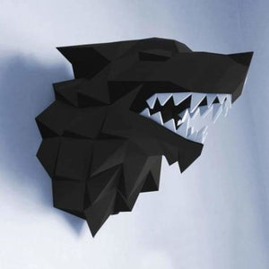 3d paper wolf head model toy - puzzles - black wolf - 3d-paper-wolf-head-model-toy