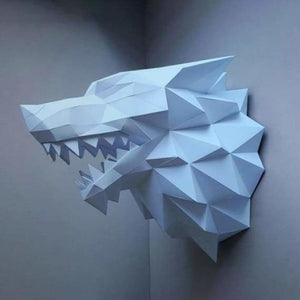 3d paper wolf head model toy - puzzles - blue wolf - 3d-paper-wolf-head-model-toy