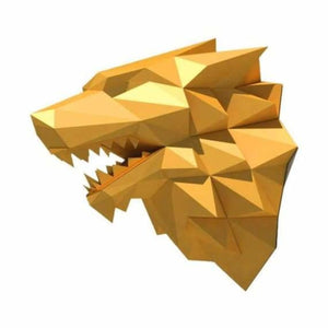 3d paper wolf head model toy - puzzles - gold wolf - 3d-paper-wolf-head-model-toy