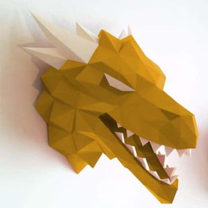 3d paper wolf head model toy - puzzles - gold - 3d-paper-wolf-head-model-toy