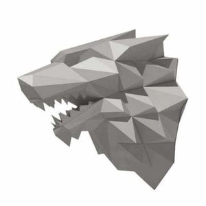 3d paper wolf head model toy - puzzles - silver wolf - 3d-paper-wolf-head-model-toy