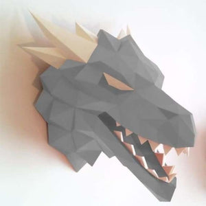 3d paper wolf head model toy - puzzles - silver - 3d-paper-wolf-head-model-toy