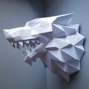 3d paper wolf head model toy - puzzles - white wolf - 3d-paper-wolf-head-model-toy