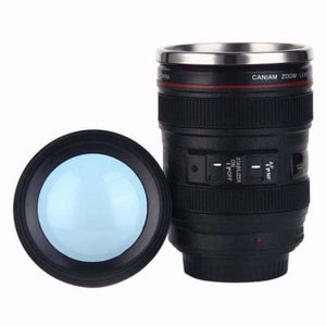 400ml Stainless Steel Camera Lens Mug With Lid - BZ042BL - Mugs